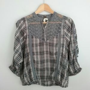 We the Free//Gray & Pink Plaid Lace Detail Top